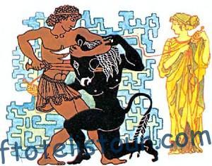 Тесей, Минотавр и Ариадна с нитью.